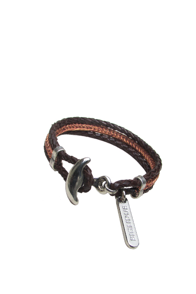 pulsera 015 piel metal marron